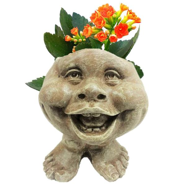 8.5 in. Stone Wash in. Little Buddy in. the Muggly Face Statue Planter Holds 3 in. Pot
