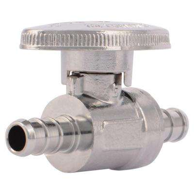 3/8 in. Chrome-Plated Brass PEX Barb Quarter-Turn Straight Stop