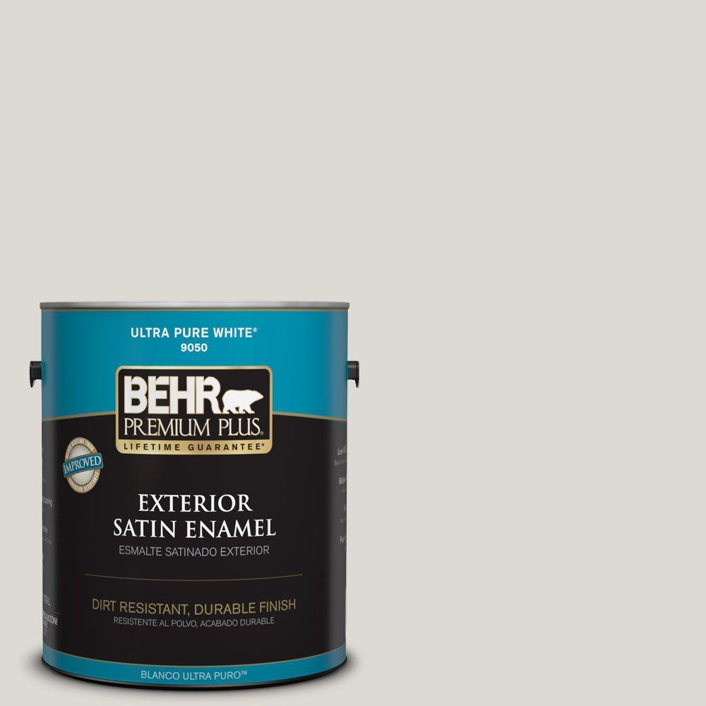 BEHR Premium Plus 1-gal. #GR-W11 Silver Ash Satin Enamel Exterior Paint