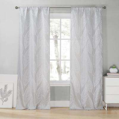 Leah 39 in. W x 96 in. L Polyester Window Panel in Silver