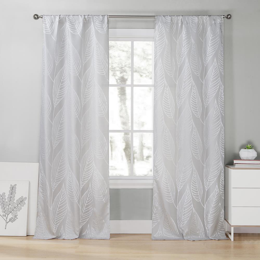 Leah 39 in. W x 96 in. L Polyester Window Panel in Silver
