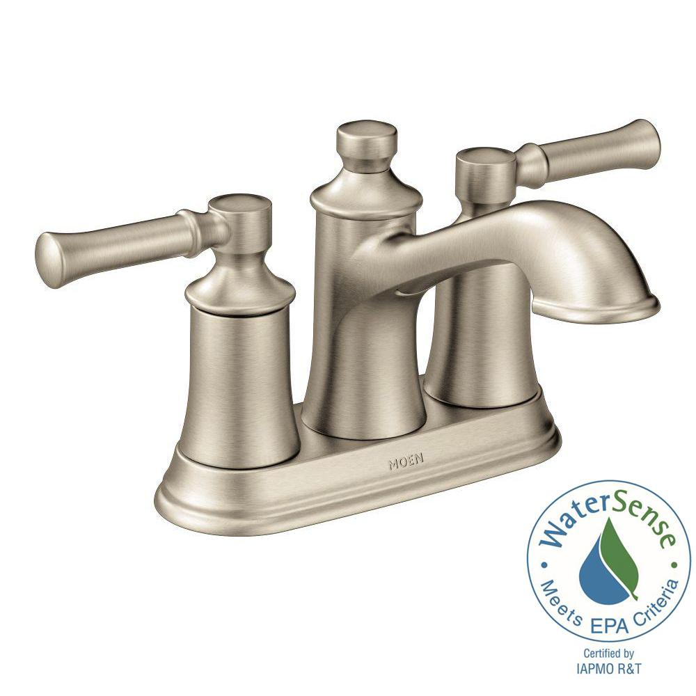 Moen Dartmoor 4 In Centerset 2 Handle Bathroom Faucet In Brushed Nickel 6802bn The Home Depot