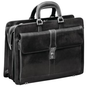 Luxurious Italian Black Leather Briefcase for 17 inch Laptop by