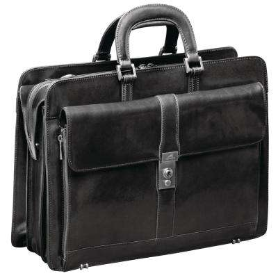 Luxurious Italian Black Leather Briefcase for 17 in. Laptop