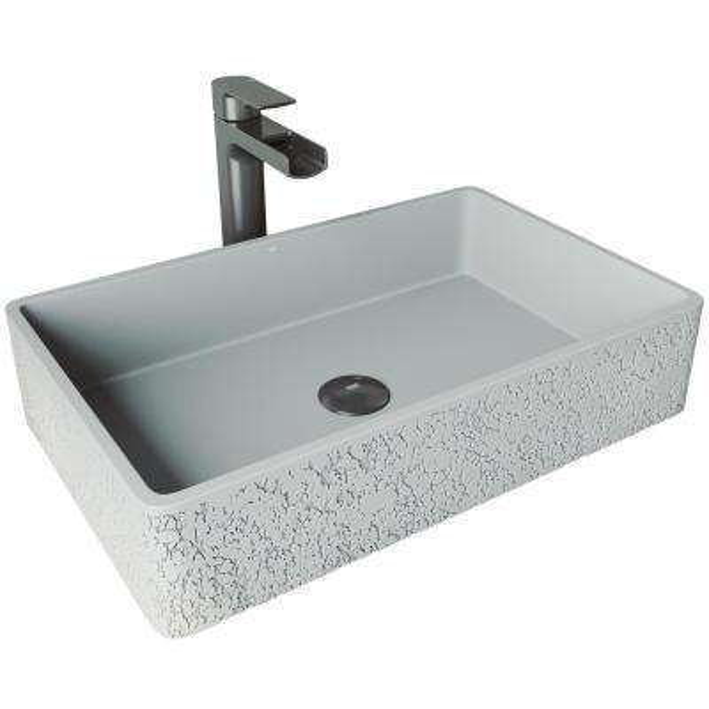 Dahlia Concrete Vessel Sink in Ash with Faucet in Graphite Black