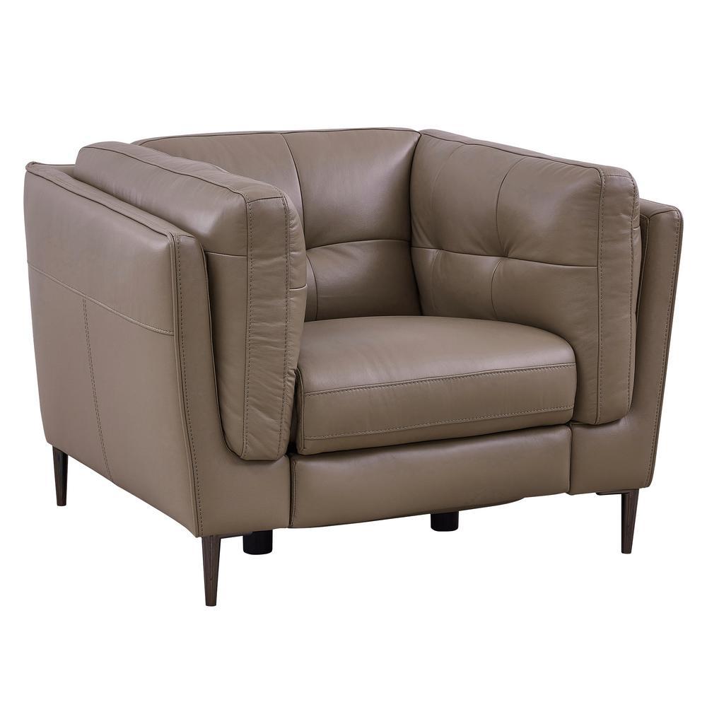 Primrose Dark Metal and Greige Genuine Leather Contemporary Chair