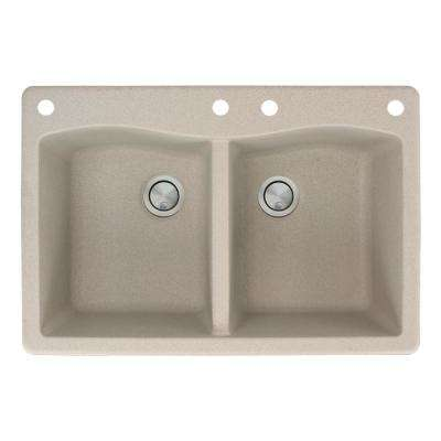 Aversa Drop-in Granite 33 in. 4-Hole Equal Double Bowl Kitchen Sink in Cafe Latte