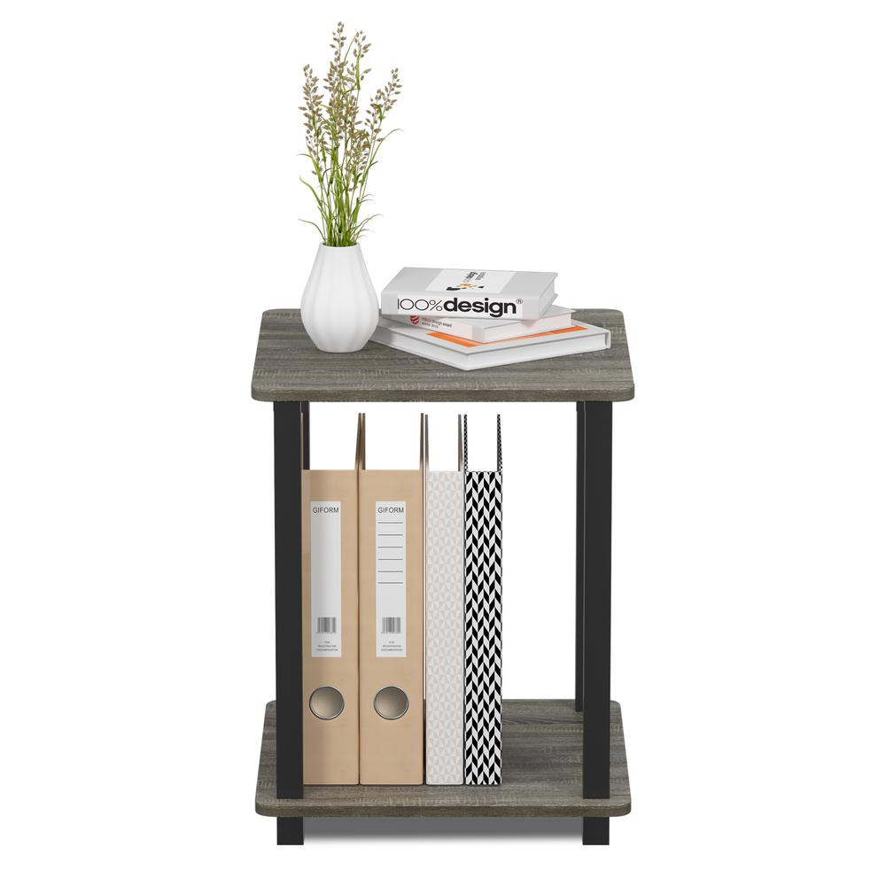 c4d16f4f4553e4 Furinno Simplistic French Oak Grey/Black End Table (2-Pack) 12127GYW/BK -  The Home Depot