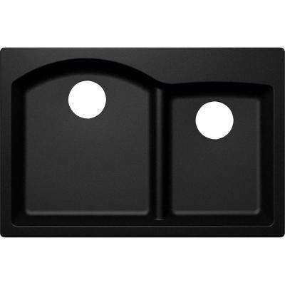 Elkay by Schock Drop-In/Undermount Quartz Composite 33 in. Rounded Offset Double Bowl Kitchen Sink in Black