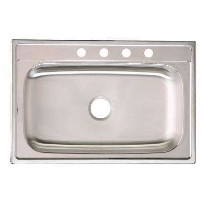 Signature Drop-in Stainless Steel 33 in. 4-Hole Single Bowl Kitchen Sink