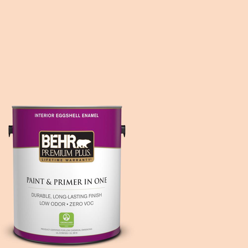 BEHR Premium Plus 1 gal. #250A-3 Whispering Peach Eggshell Enamel Zero VOC Interior Paint and Primer in One