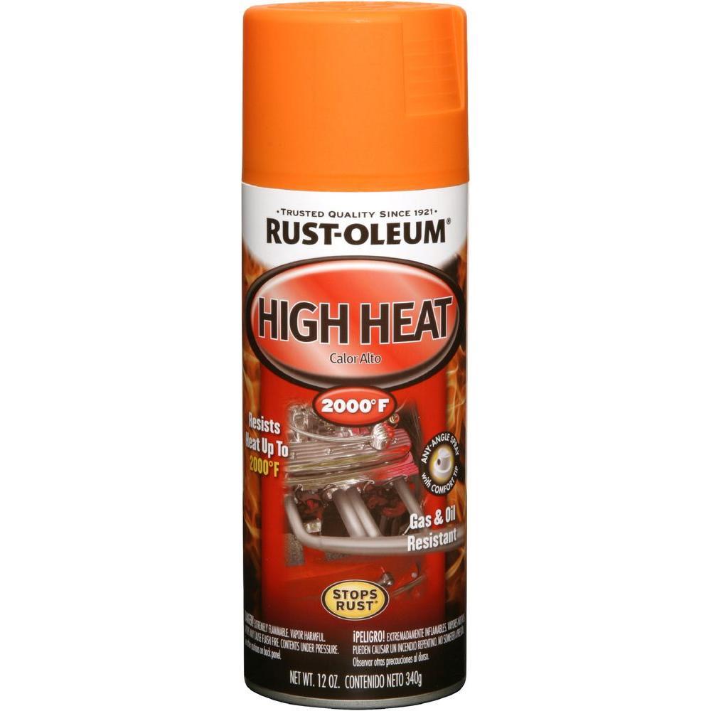 Rust-Oleum Automotive 12 oz. High Heat Enamel Flat Orange Spray (6-Pack)