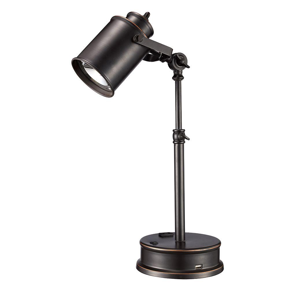 Adjustable Oil-Rubbed Bronze LED Desk Lamp with Built- - Monteaux Lighting 19.75 In. Adjustable Oil-Rubbed Bronze LED Desk
