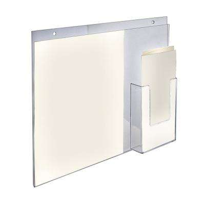 14 in. W x 11 in. H Wall Mount Vertical Sign Holder with Brochure Pocket (2-Pack)