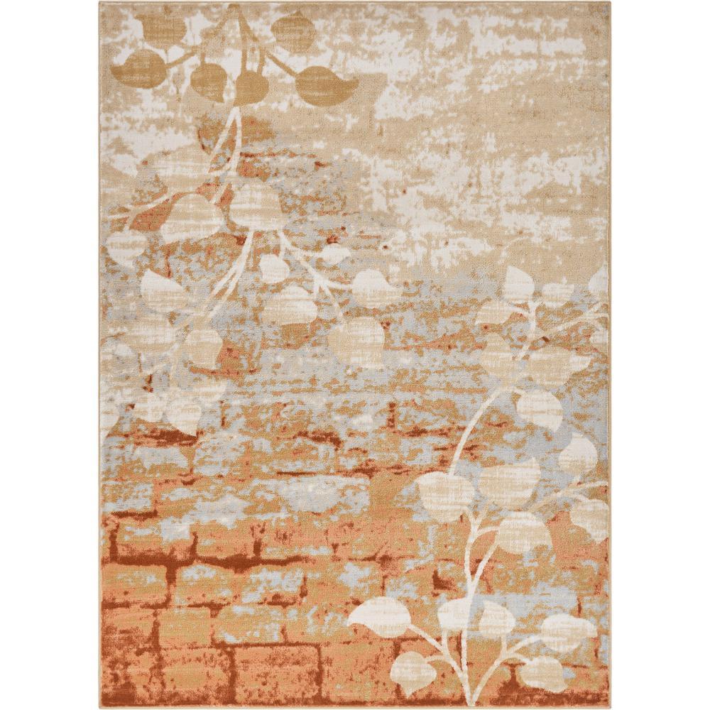 Hughes Cobble Hill 8 ft. x 11 ft. Modern Floral Leaves Orange Copper Area Rug