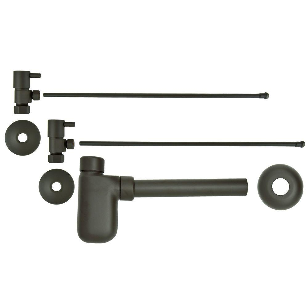 3/8 in. x 20 in. Brass Lavatory Supply Lines with Lever Handle Shutoff Valves and Decorative Trap in Oil Rubbed Bronze Barclay provides all your essential bathroom needs. Replace unsightly plumbing under your exposed sink with this decorative lavatory trap and supplies. Enjoy the convenience of accessible water shut-off. Color: Oil Rubbed Bronze.