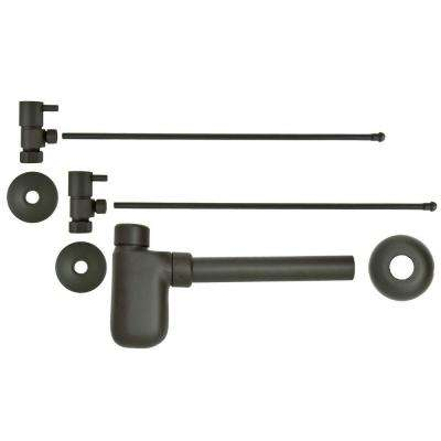 3/8 in. x 20 in. Brass Lavatory Supply Lines with Lever Handle Shutoff Valves and Decorative Trap in Oil Rubbed Bronze