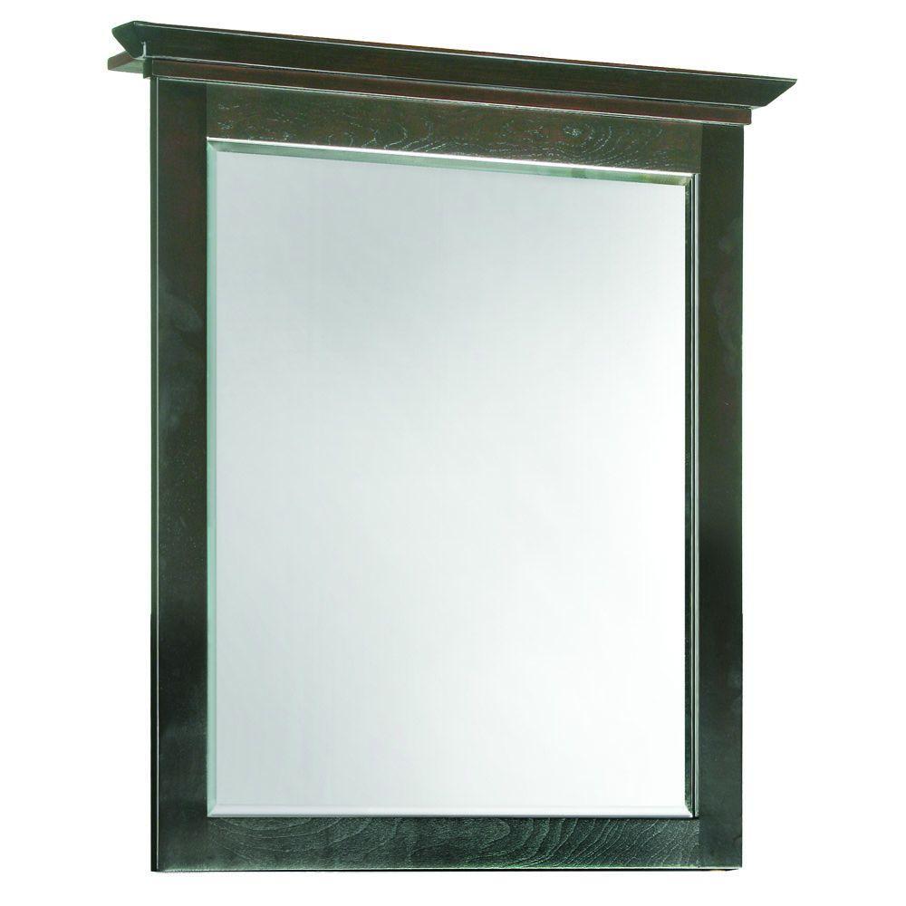Ventura 26 in. W x 30 in. H Framed Rectangular Bathroom Vanity Mirror in Brown
