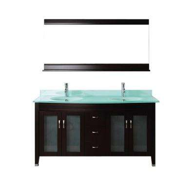 Alba 63 in. Vanity in Chai with Glass Vanity Top in Chai and Mirror