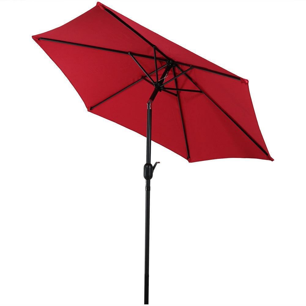7.5 ft. Aluminum Market Tilt Patio Umbrella in Red