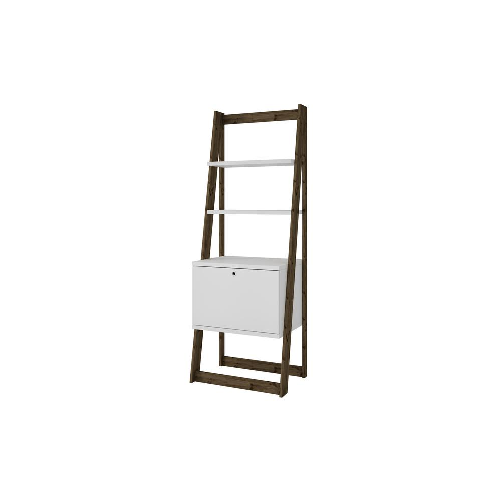 Manhattan Comfort White And Dark Oak Salvador Ladder Bookcase With 2 Display Shelves 1
