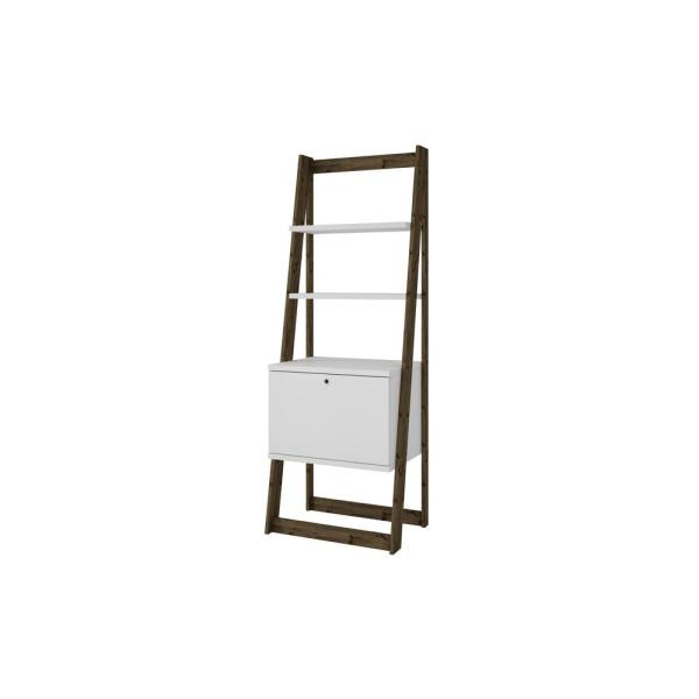 Manhattan Comfort White and Dark Oak Salvador Ladder Bookcase with 2-Display