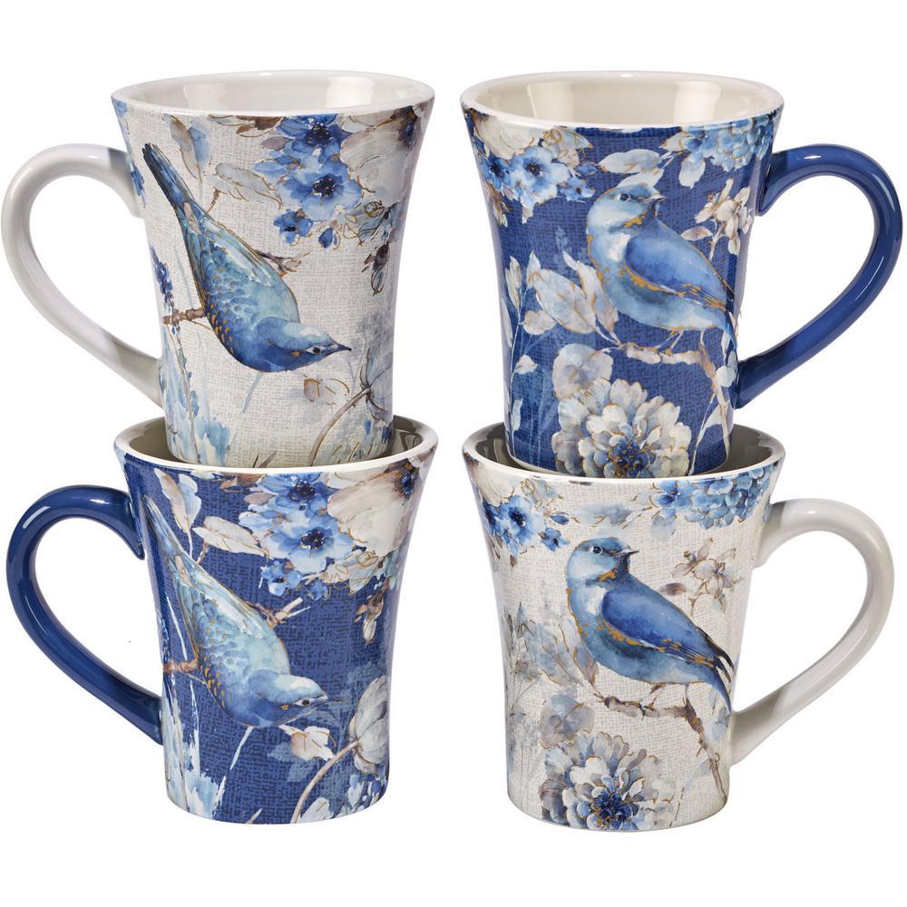 Indigold Bird 15 oz. Blue/White Ceramic Bird Mugs (Set of 4)