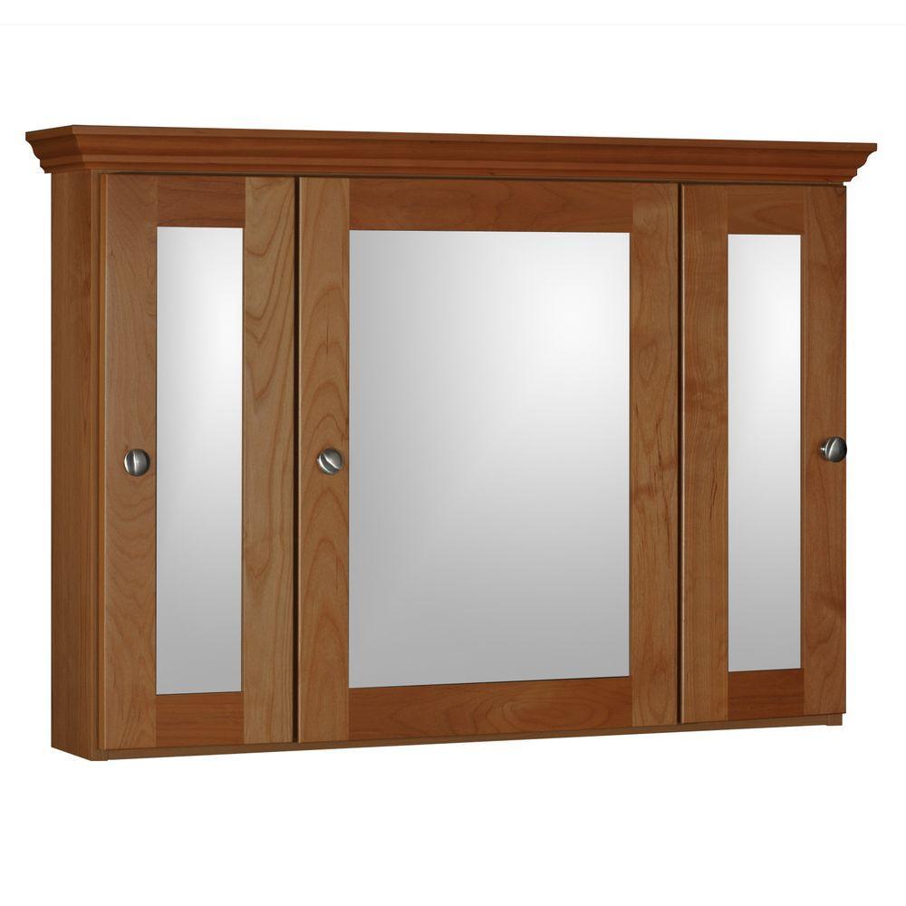 Shaker 36 in. W x 27 in. H x 6-1/2 in. D Framed Tri-View Surface-Mount Bathroom Medicine Cabinet in Medium Alder