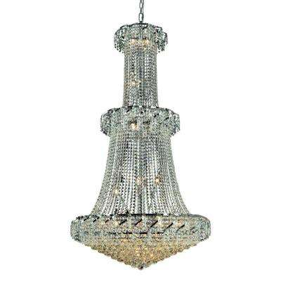 32-Light Chrome Chandelier with Clear Crystal