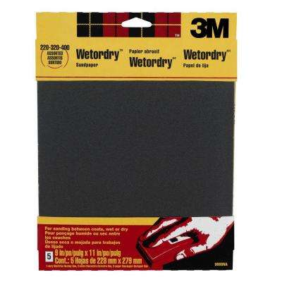 9 in. x 11 in. 220, 320, 400-Grit Fine, Extra Fine, and Super Fine Silicon Carbide Sandpaper 5 Sheets-Pack (Case of 50)