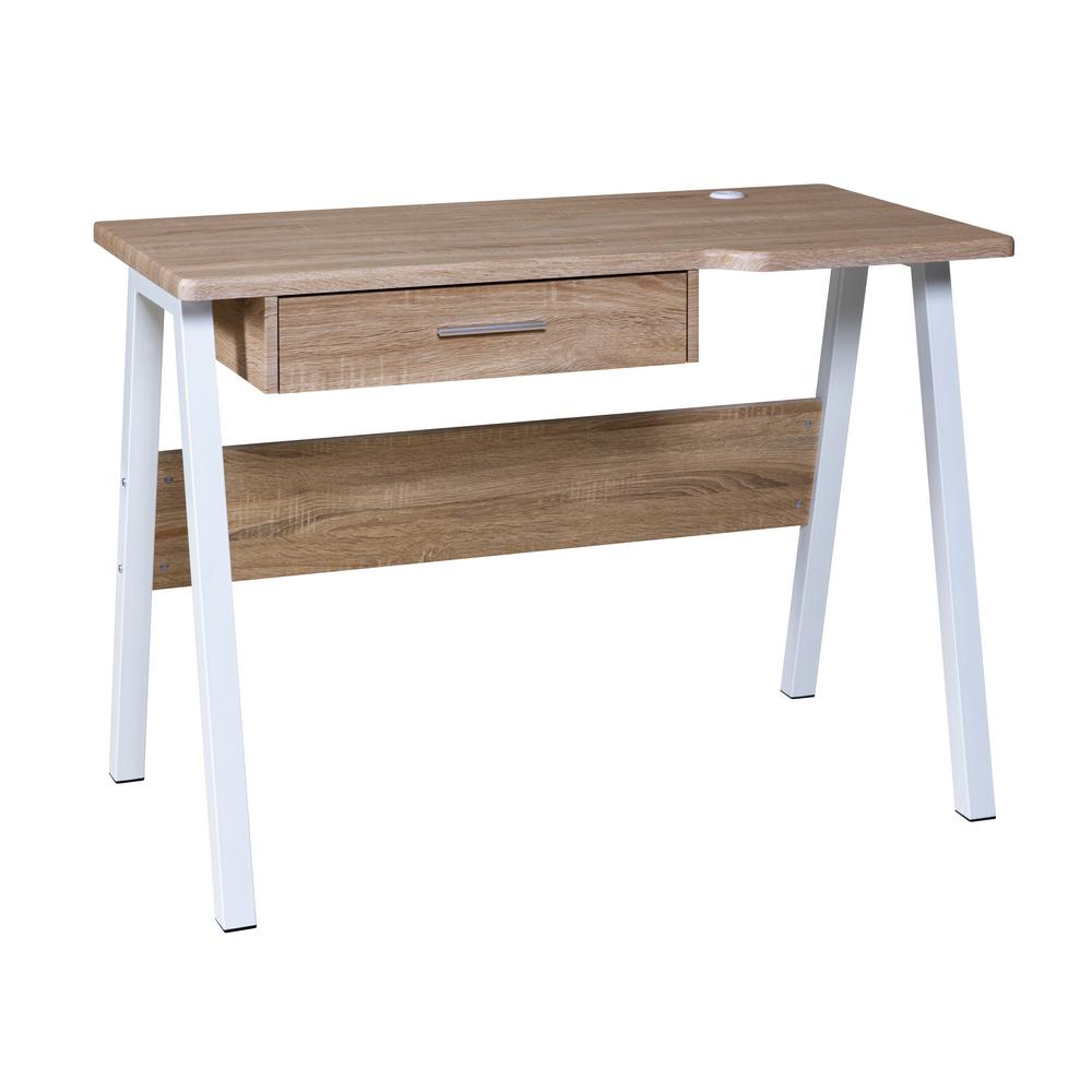 Onespace Basics Desk With Drawer And Dual Usb Charging Station Oak