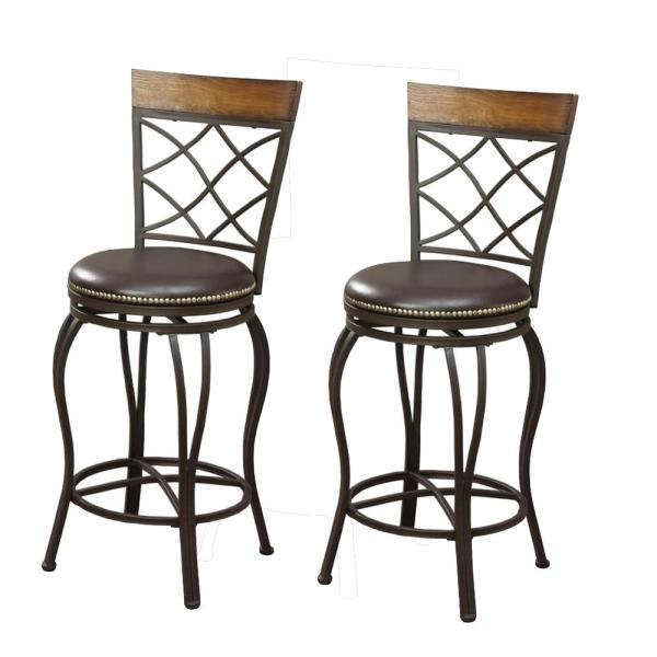 46 in. Brown Metal and Wooden Swivel Bar Stool (Set of 2)
