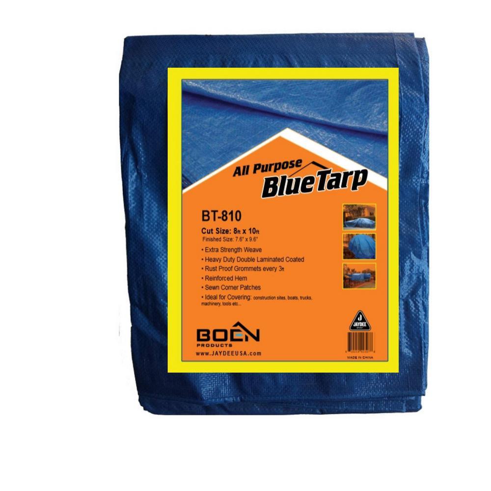 8 ft. X 10 ft. Blue Tarp Multi-Purpose Waterproof Weave & Laminated Polyethylene, UV treated 5 Mil Thick (2-Pack)