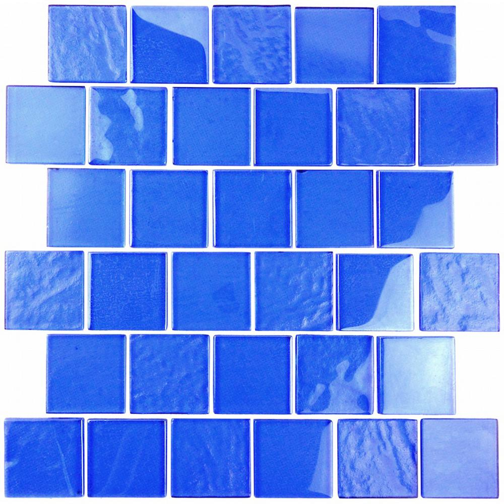 Blue Mosaic 2 In X Textured Gl Mesh Mounted Decorative Bathroom Wall And Floor Tile 1 04 Sq Ft
