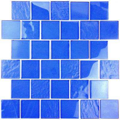 Landscape Mediterranean Blue Linear Mosaic 2 in. x 2 in. Textured Glass Wall Pool and Floor Tile (1.04 Sq. ft.)