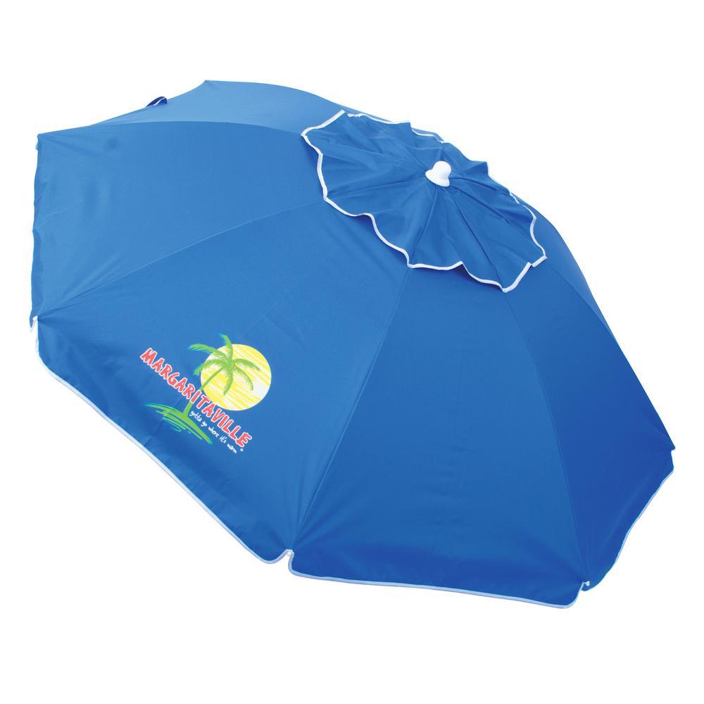 Steel Pole Market Tilt Beach And Patio Umbrella In Blue