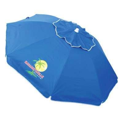 6.5 ft. Steel Pole Market Tilt Beach and Patio Umbrella in Blue