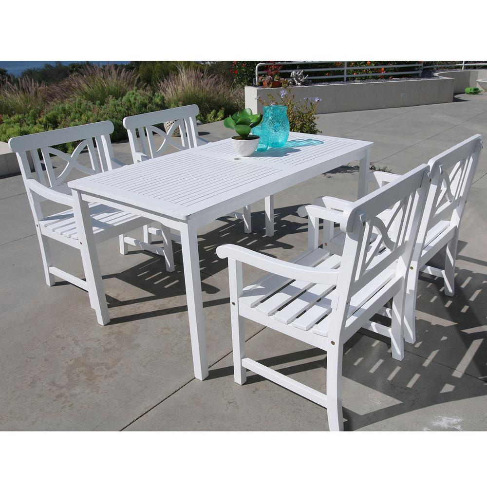 Vifah Bradley Acacia White 5 Piece Patio Dining Set With 32 In W Extension Table And Cross Back Armchairs V1336set2 The Home Depot