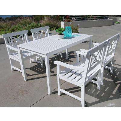 Bradley Acacia White 5-Piece Patio Dining Set with 32 in. W Extension Table and Cross-Back Armchairs