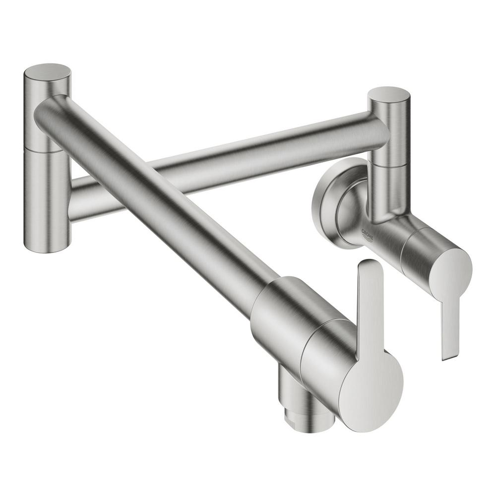 GROHE GROHE Ladylux L2 Wall Mount Pot Filler with Two Swing Joints in SuperSteel Infinity Finish