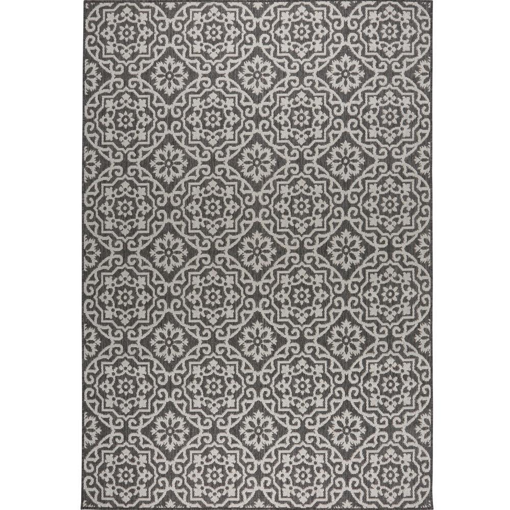 Patio Country Black Gray 9 ft. 2 in. x 12 ft. 5 in. Indoor/Outdoor Area Rug
