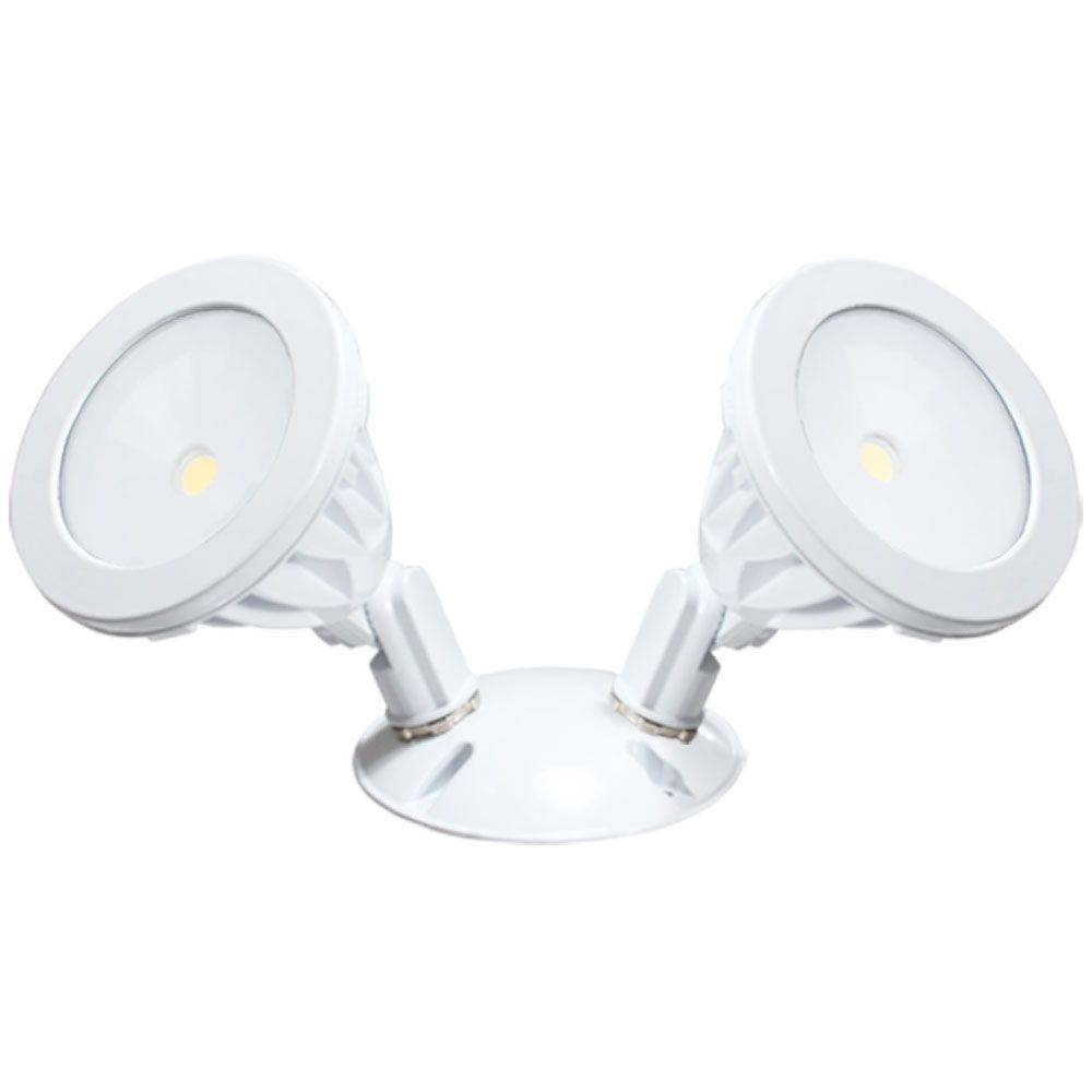 Irradiant Wall Mount 2 Light White Led Outdoor Flood