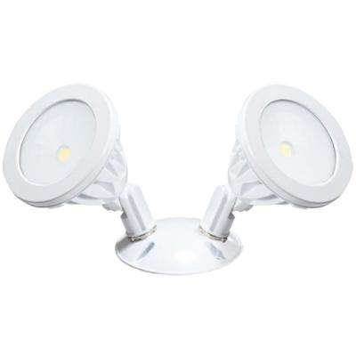 Wall-Mount 2-Light White LED Outdoor Flood Light