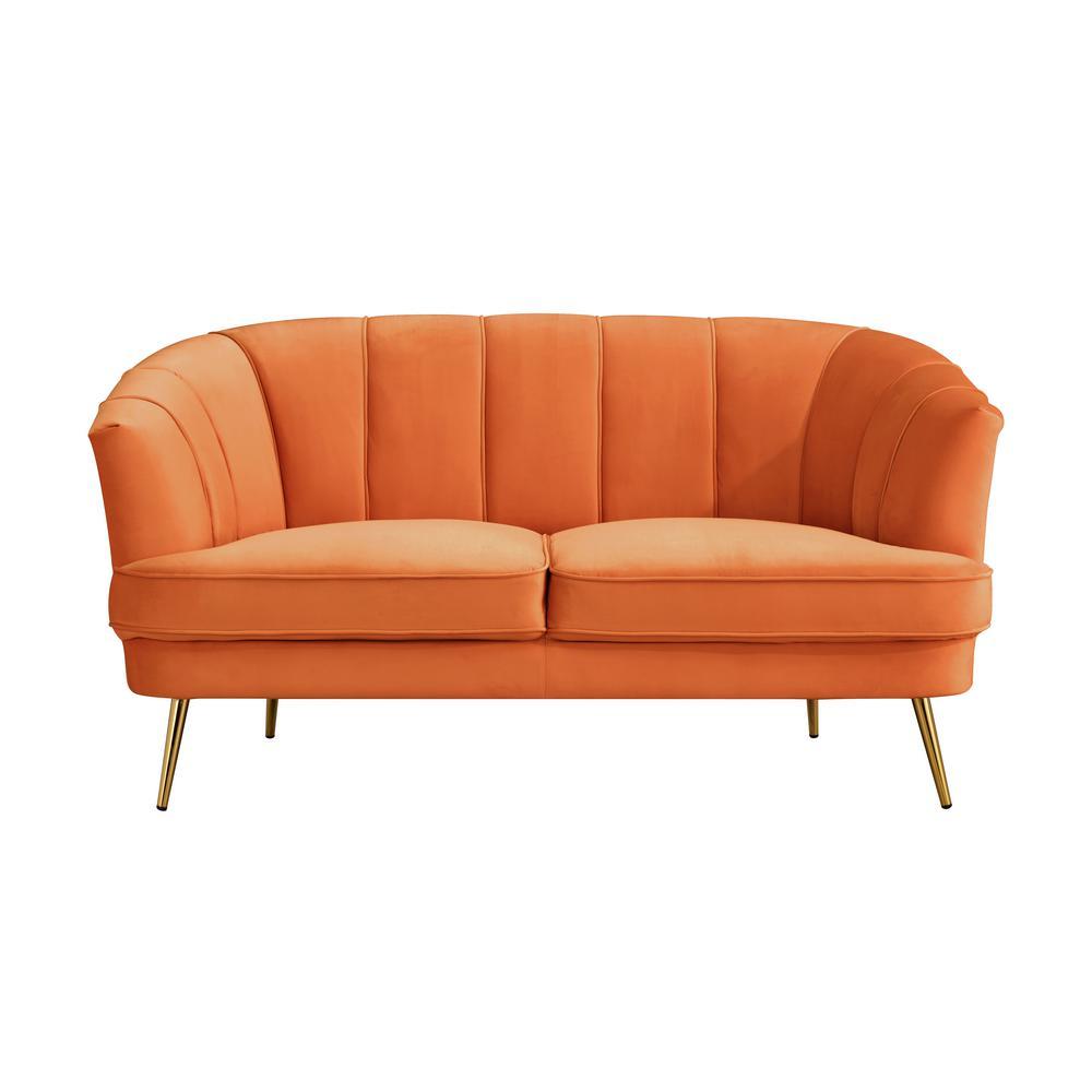 Chesterfield 62.2-in Velvet Recessed Arms Sofa Loveseat, Orange