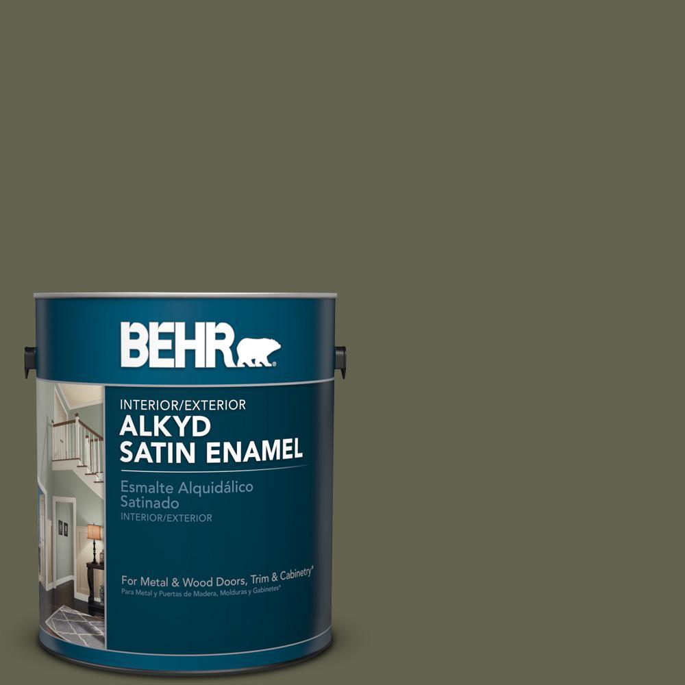 1 gal. #N350-7 Russian Olive Satin Enamel Alkyd Interior/Exterior Paint