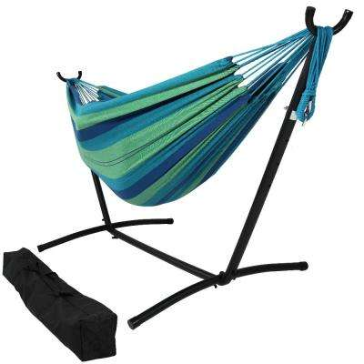 10.5 ft. Fabric Cotton Double Brazilian Hammock with Stand Combo in Beach Oasis