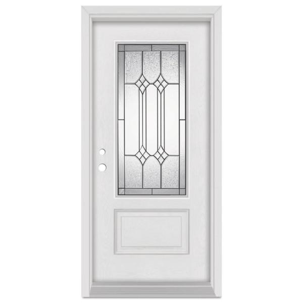 36 in. x 80 in. Orleans Right-Hand Patina Finished Fiberglass Mahogany Woodgrain Prehung Front Door