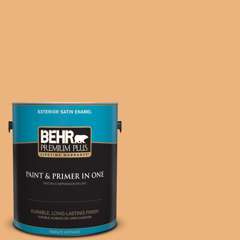 BEHR Premium Plus 1-gal. #ICC-100 Eastern Amber Satin Enamel Exterior Paint
