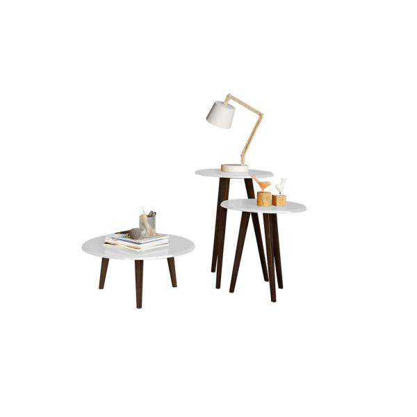 Manhattan Comfort Carmine Mid Century Modern White End Tables with Solid Wood Splayed Legs (Set of 3)