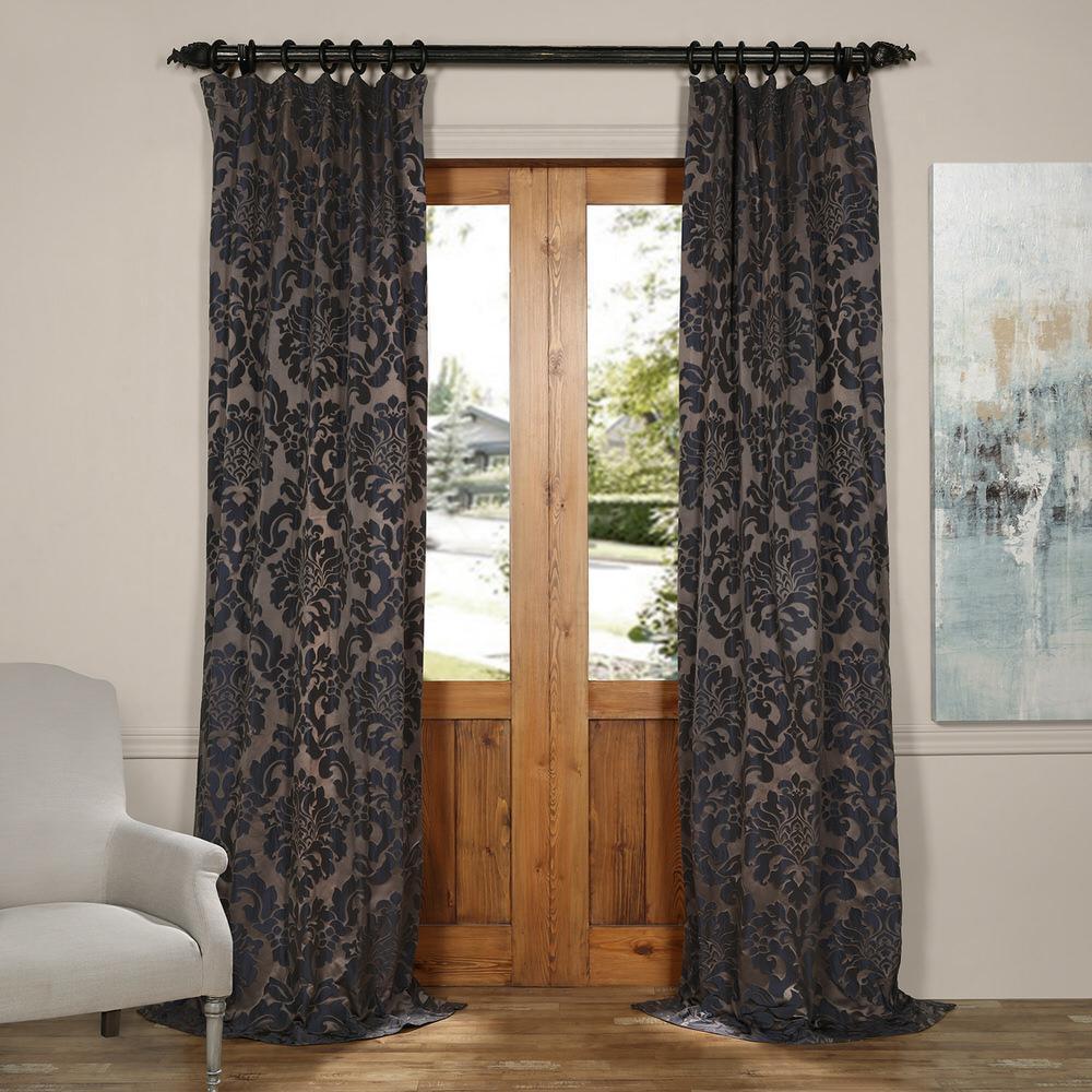 Exclusive Fabrics & Furnishings Astoria Mercury Grey and Dark Sapphire Faux Silk Jacquard Curtain Panel - 50 inch W x... by Exclusive Fabrics & Furnishings